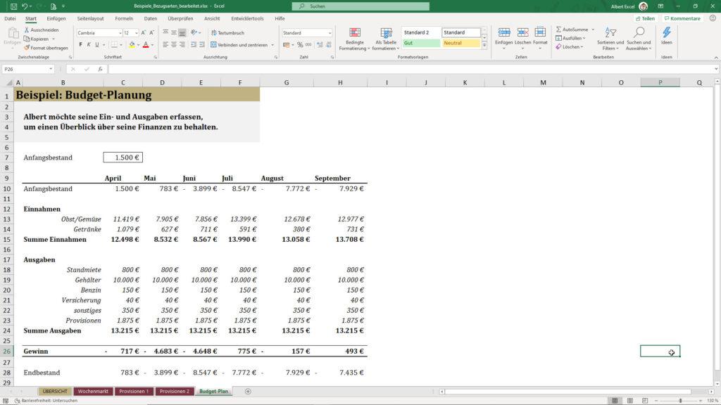 Excel Haushaltsbuch