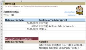 Excel Heute Funktion - Beispiel Datei Vorschau
