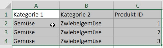 Excel Tabelle erstellen - Daten auswählen