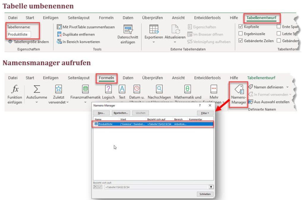 Es wird empfohlen neu erstellte Excel Tabellen in einen beschribenden Namen umzubenennen.