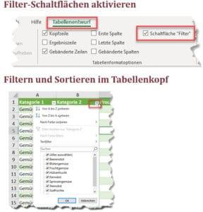 Wie kann ich meine Tabelle filtern und sortieren?