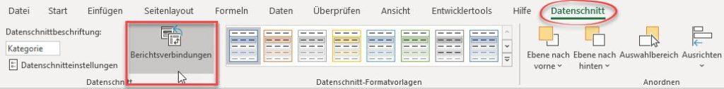 Datenschnitt Berichtsverbindungen