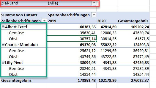 Datenanordnung in einer Pivot Tabelle