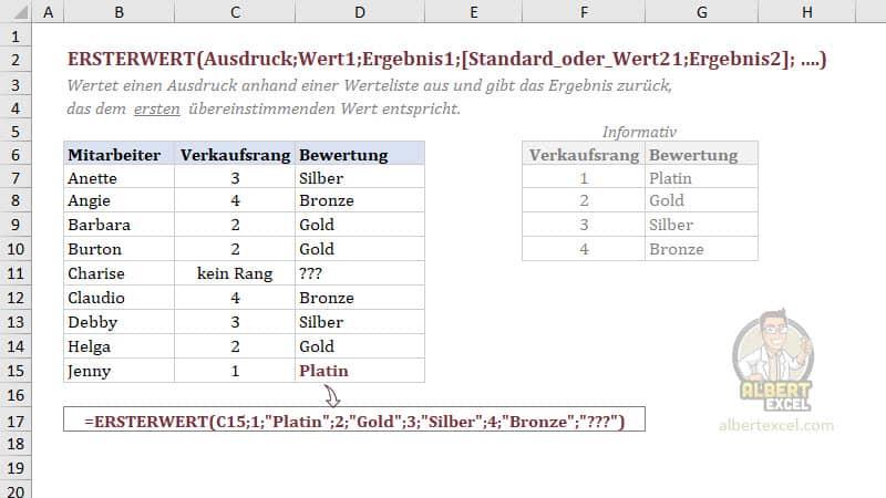 Excel ERSTERWERT Funktion einfach erklärt