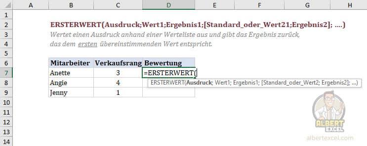 Excel Funktion ERSTERWERT Anleitung Schritt 1