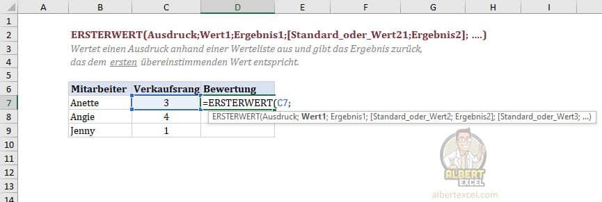 Excel Funktion ERSTERWERT Anleitung Schritt 2