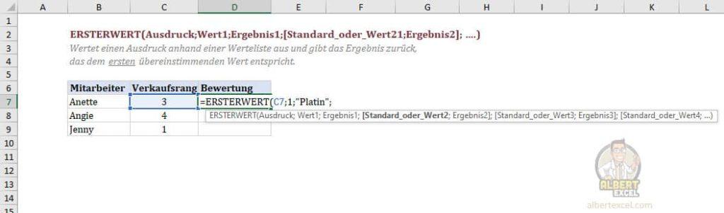 Excel Funktion ERSTERWERT Anleitung Schritt 3