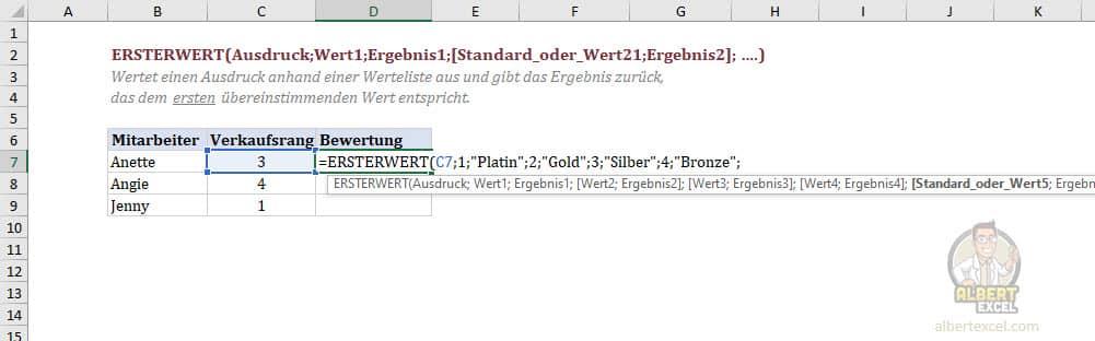 Excel Funktion ERSTERWERT Anleitung Schritt 4