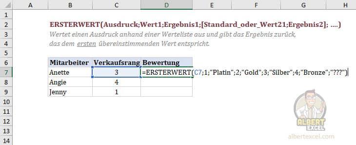 Excel Funktion ERSTERWERT Anleitung Schritt 5
