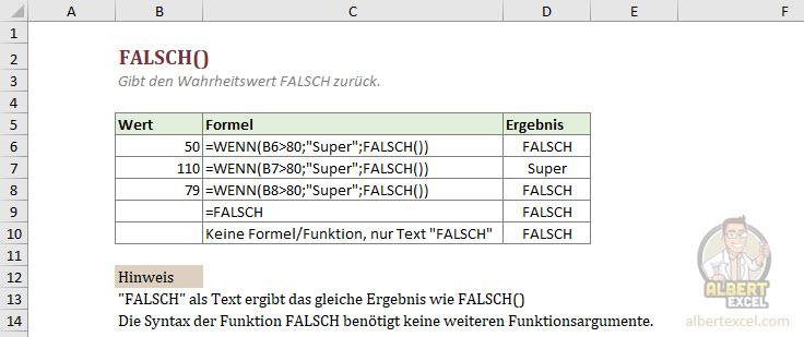 Excel FALSCH Funktion einfach erklärt