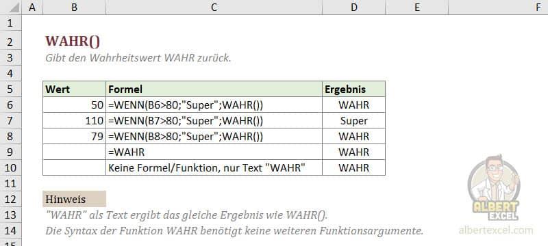 Excel WAHR Funktion einfach erklärt