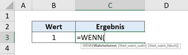 Excel WENN Funktion Anleitung Schritt 1