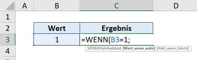 Excel WENN Funktion Anleitung Schritt 2