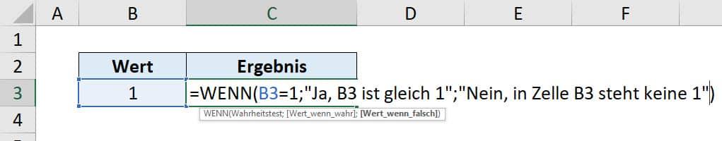 Excel WENN Funktion Anleitung Schritt 4