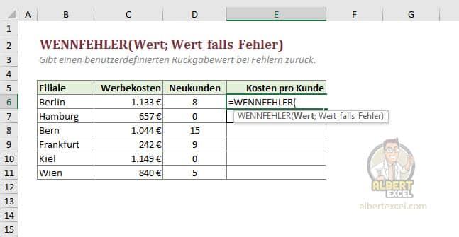 Excel WENNFEHLER Funktion Anleitung - Schritt 1
