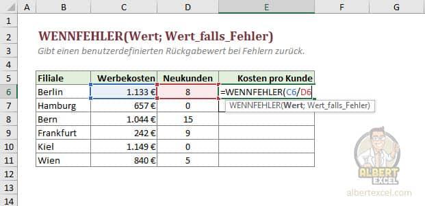 Excel WENNFEHLER Funktion Anleitung - Schritt 2