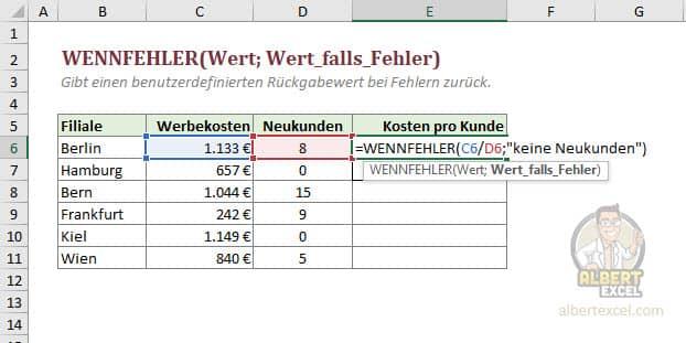 Excel WENNFEHLER Funktion Anleitung - Schritt 3