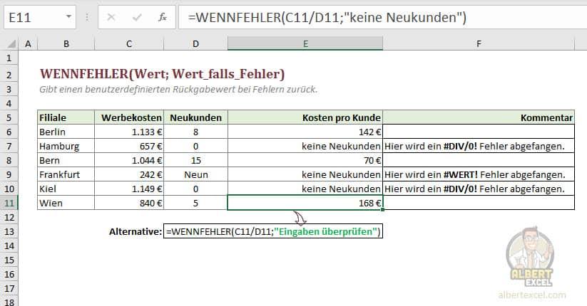 Excel WENNFEHLER Funktion Anleitung - Schritt 4