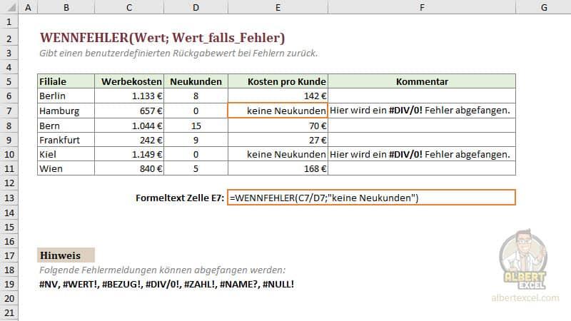 Excel WENNFEHLER Funktion einfach erklärt