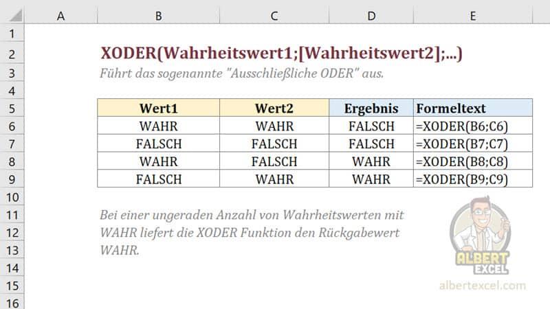 Excel XODER Funktion einfach erklärt