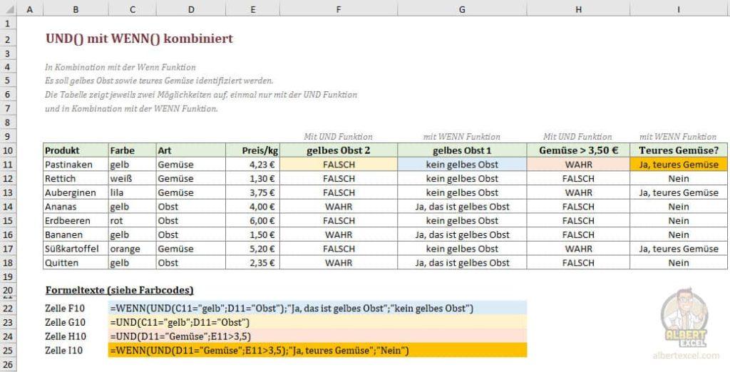 Excel UND Funktion Beispiel