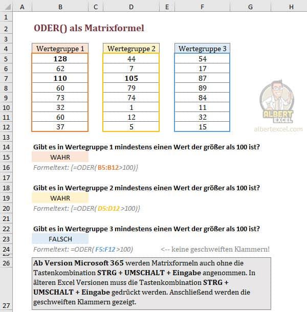Kann die ODER Funktion auch als Matrixformel verwendet werden?