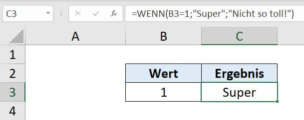 WENN Funktion Beispiel 1
