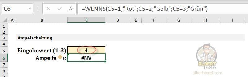 Warum gibt die WENNS Funktion den Fehlerwert #NV zurück?