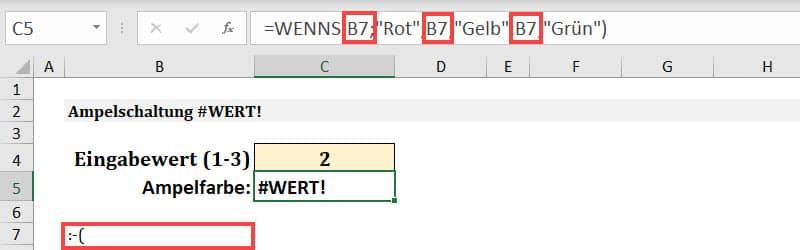 Warum gibt die WENNS Funktion den Fehlerwert #WERT! Zurück?