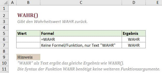 Wozu benötige ich die Funktion WAHR in Excel?